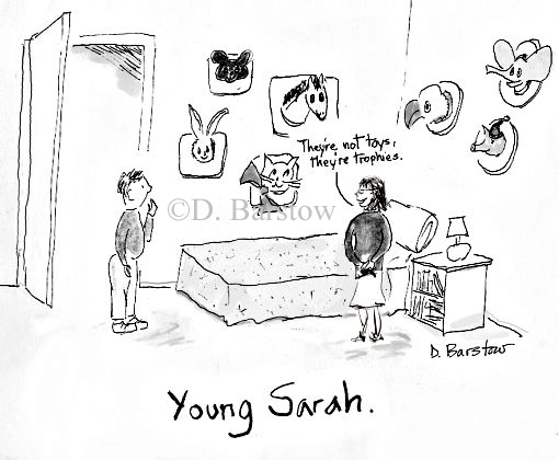 Sarah Palin cartoon with gun or murderous weapon in hand
