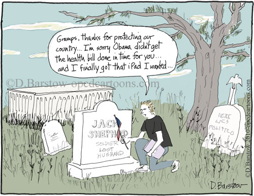 soldier's grave and ipad cartoon