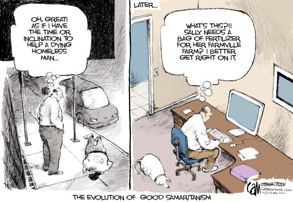 cameron cardow cartoon of politicalcartoons.com on the good samaritan failure story in nyc