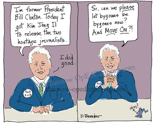 bill clinton cartoon with the blue dress