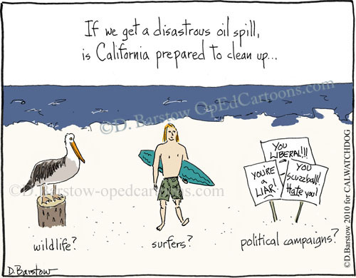 a make believe oil spill in california cartoon