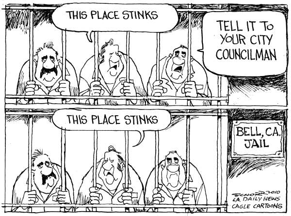 Bill Schorr cartoon on Bell councilmen in jail
