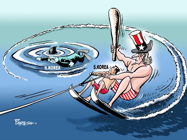 dangerous north korea cartoon by paresh nath -  naval exercise