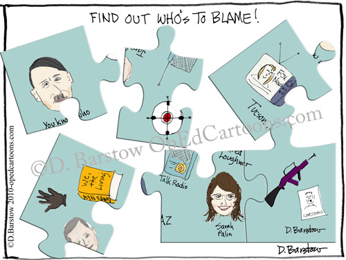 Gabrielle Giffords shooting cartoon, starring Sarah Palin and Hitler