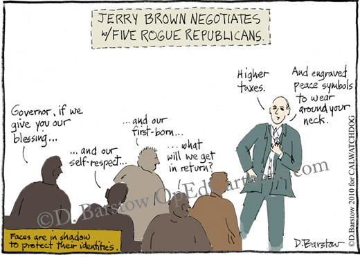 5 republicans defect and join jerry brown on the other side (left)