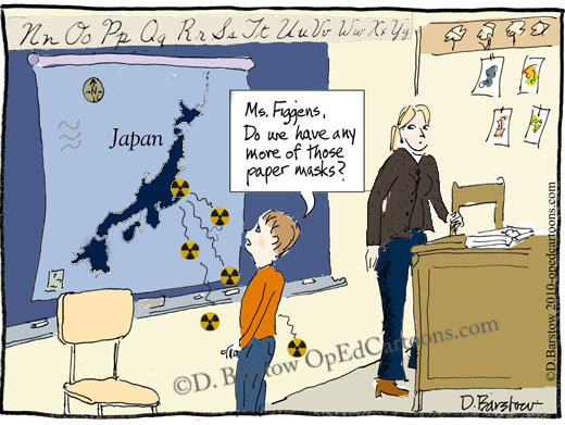 nuclear radiation from map of japan falls into school