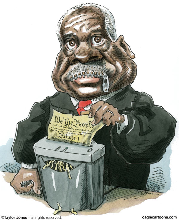 taylor jones cartoon on supreme court justice clarence thomas