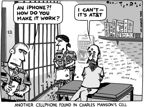 ted rall cartoon on charles manson's cell phones and att