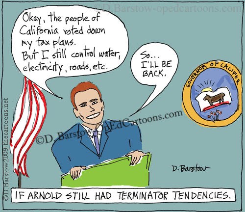 Arnold Schwarzenegger cartoon as the Governator