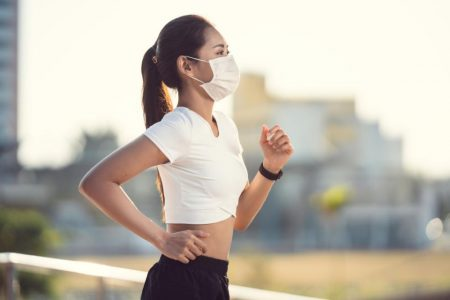 chinese runner with mask