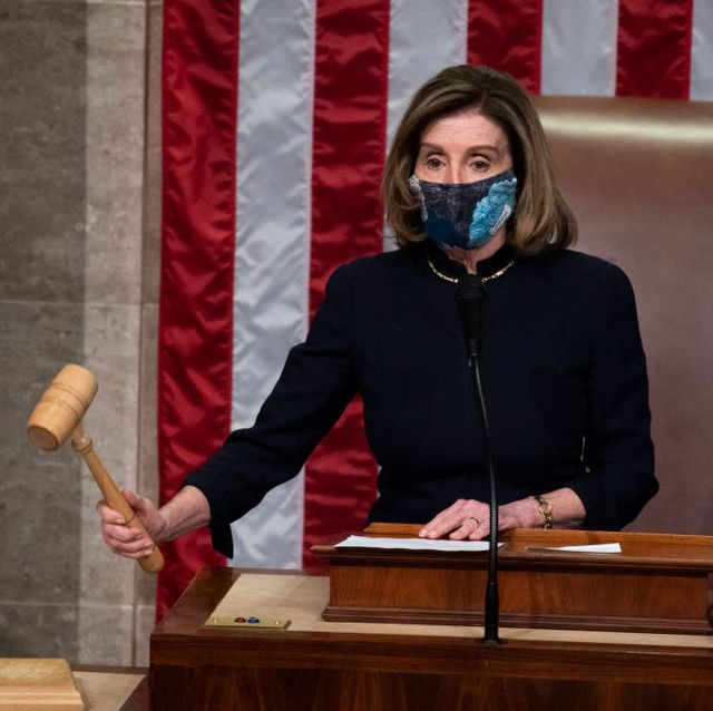nancy wears mask like good girl, while impeaching our president